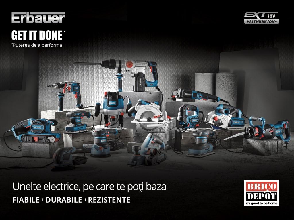 Brico Depôt lansează gama de unelte electrice Erbauer EXT