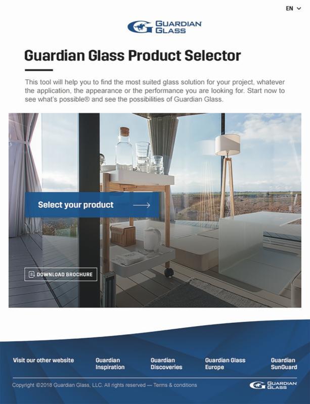 Descoperiți sticla arhitecturală potrivită în câteva minute cu noul  Selector de Produse online, de la Guardian Glass