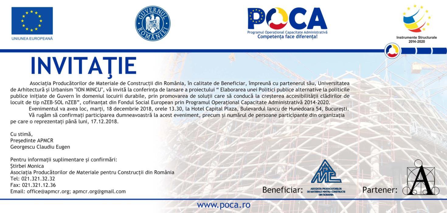 """Proiect """"Elaborarea unei Politici publice alternative la politicile publice inițiate de Guvern în domeniul locuirii durabile, prin promovarea de soluții care să conducă la creșterea accesibilității clădirilor de locuit de tip nZEB-SOL nZEB"""", Cod SIPOCA/SMIS2014: 302/110058"""