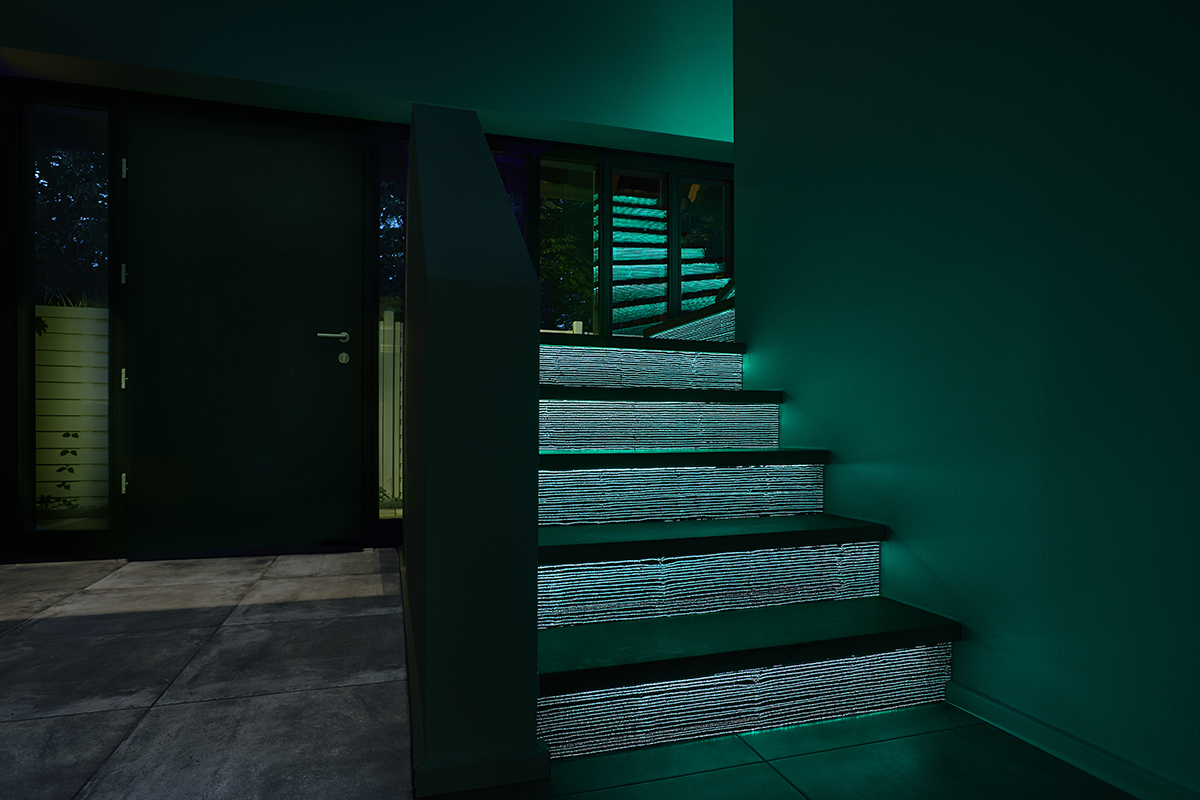 Luminous stairs made of LUCEM Lichtbeton® for indoors and outdoors