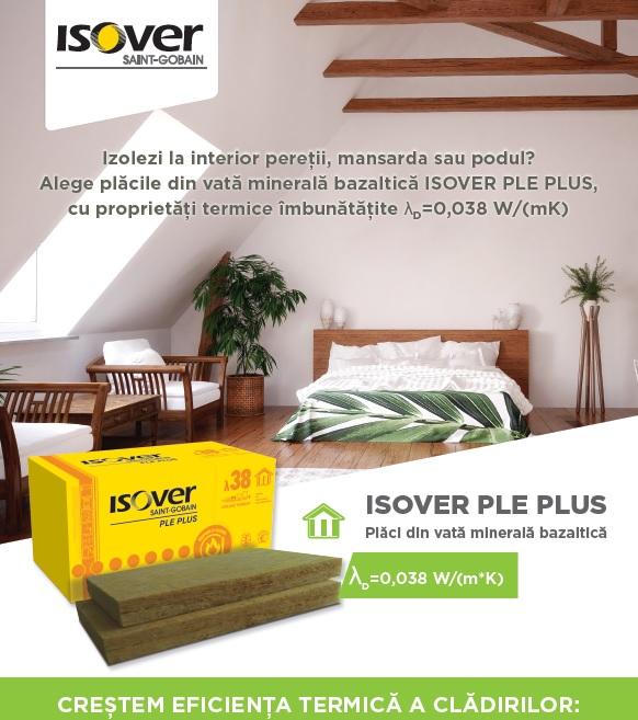 Saint-Gobain Romania lanseaza trei noi produse  pentru cresterea eficientei energetice a cladirilor:  ISOVER RIO PLUS, ISOVER PLE PLUS si ISOVER PLE PLUS ALU