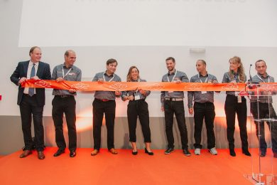 The Ahern Iberica Team Cutting the Ribbon